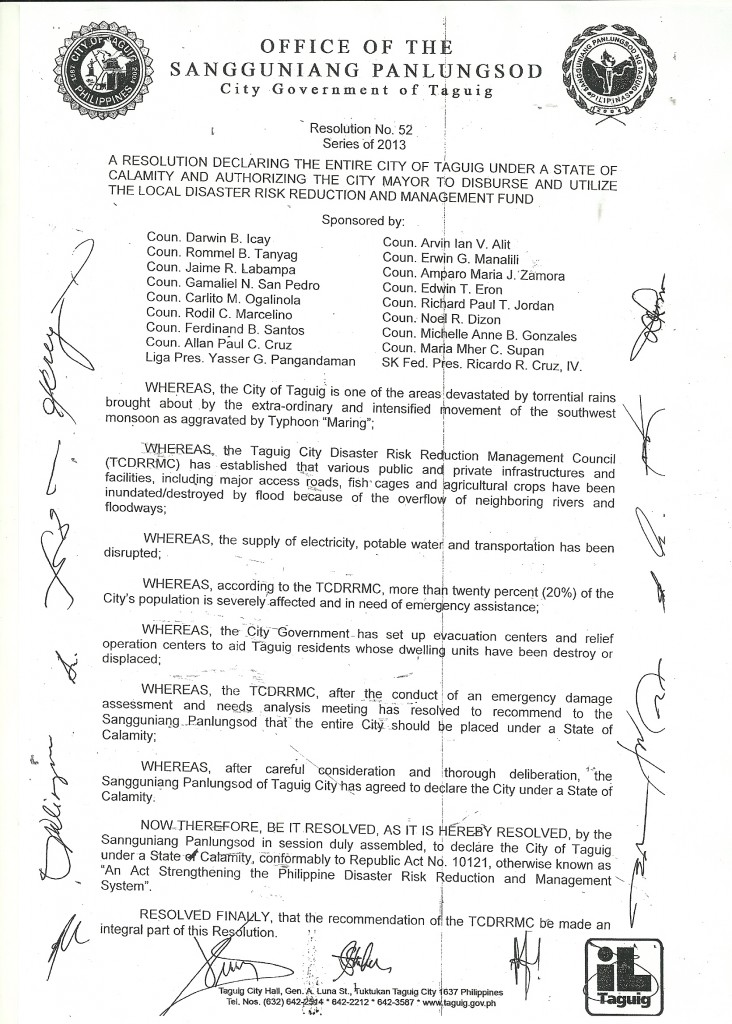 A Resolution Declaring the entire City of Taguig Under a State of Calamity