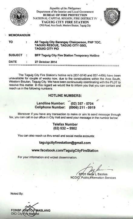 Taguig City Fire Station Advisory - Official Website of The