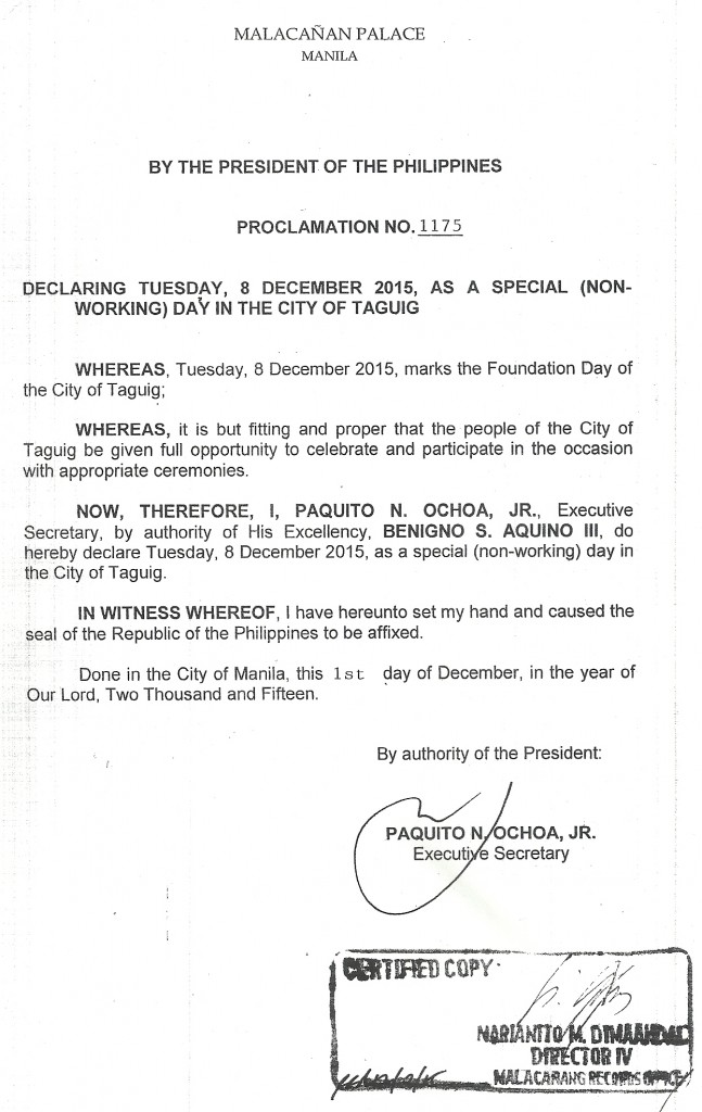 Taguig Cityhood 2015 Proclamation