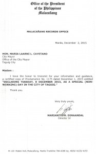 Taguig Cityhood 2015 Proclamation_Records Copy