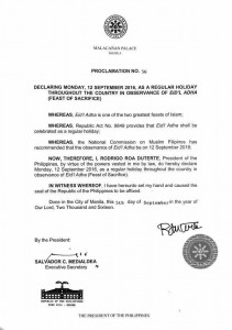 Proclamation No. 56 Series of 26 - Eid'l Adha